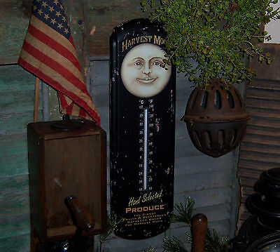 Primitive Antique Vtg Style Halloween Harvest Man Moon Thermometer Sign Tin