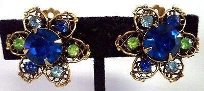 "Stunning Vintage Estate High End Rhinestone Flower 1"" Clip Earrings!!! G185A"