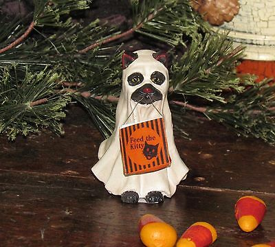 Prim Antique Vtg Style Halloween Spooky Haunted Ghost Cat Trick or Treat Figure