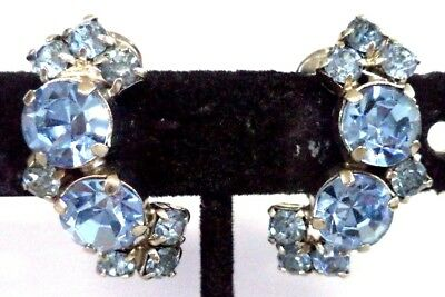 "Stunning Vintage Estate High End Rhinestone Flower 1 1/8"" Clip Earrings!!! G185F"