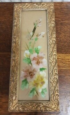 antique floral painting on glass  PICTURE
