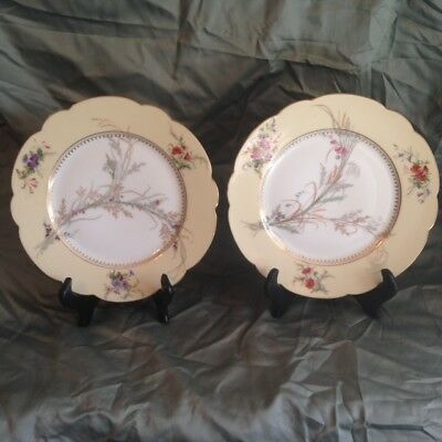 "Pair Sevres 8 1/4"" Plates 1846 King Louis Philippe of France Chateau of St Cloud"