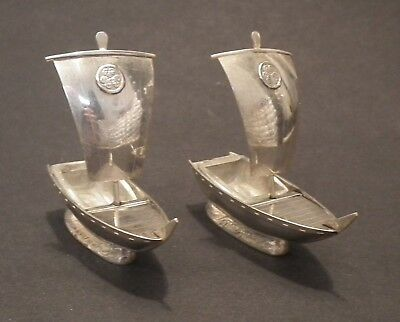 Stunning Pair Of Japanese 950 Grade Solid Silver Novelty Boat Salts By Ashai