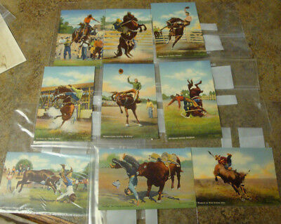 LOT OF 17 VTG 1940s  RPPC REAL PHOTO WESTERN RODEO Cowboy POSTCARDS Doubleday