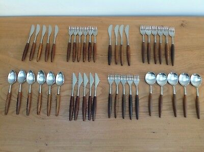 X42 VINTAGE BUTLER 'SHEBA' CUTLERY SET STAINLESS STEEL & TEAK HANDLE 1960's
