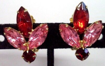 "Stunning Vintage Estate High End Rhinestone Flower 1"" Clip Earrings!!! G186I"