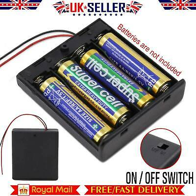 NEW AA x 4 Enclosed Battery Holder Box with Switch 15cm Wires