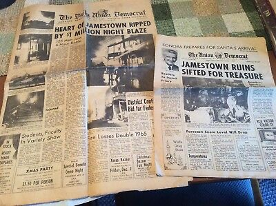 Jamestown, California Newspaper 1966 Fire. The Daily Union Democrat.