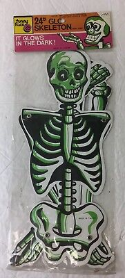 Vintage Funny Face Halloween Jointed Glow Skeleton 24in.