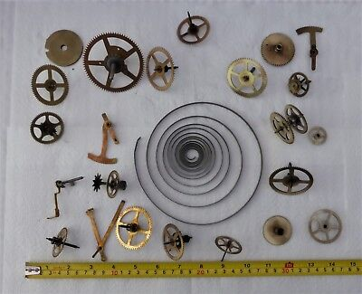 Collection Of Clock Gears, Spring Etc For Spares/steam Punk/ Craft