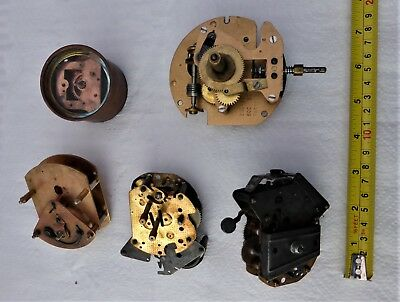 Collection Of 5 Clock Movements For Spares/steam Punk/ Craft