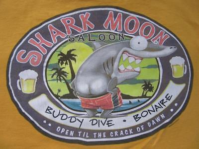 Buddy Dive Bonaire LARGE Shark Moon Saloon Shirt SCUBA Dive Beer Duck Company