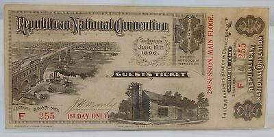 Atq 1896 REPUBLICAN NATIONAL CONVENTION St Louis McKinley Guest Ticket