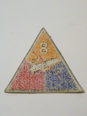 A  WW 2 U S Army 8th Armored Division Cut Edge White Back Patch