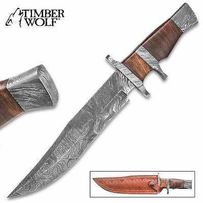 """14"""" Handmade Forged Damascus Steel Fixed Blade Hunting Bowie Knife w/ Sheath"""