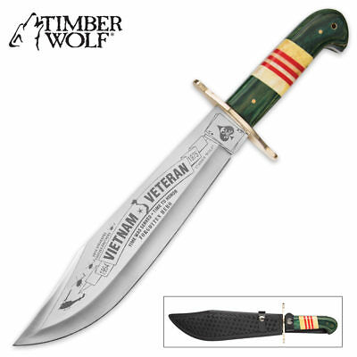 Timber Wolf Vietnam Veteran Fixed Blade Bowie Hunting Knife w/Leather Sheath