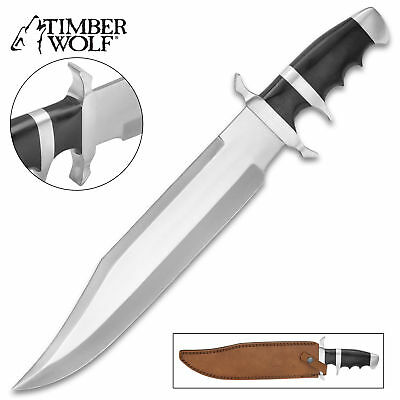 "18"" Timber Wolf Micarta Army Bowie Fixed Blade Knife Machete Hunting w/ Sheath"