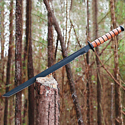 "28"" FULL TANG Marine Combat Tactical SWORD MACHETE Knife Katana Tanto w/ Sheath"