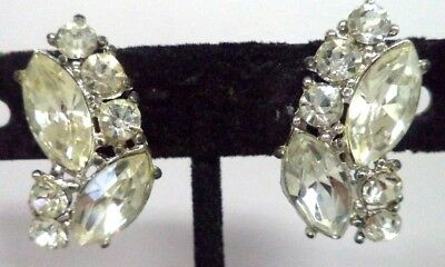 "Stunning Vintage Estate High End Rhinestone Flower 1"" Screw Earrings!!! G186L"