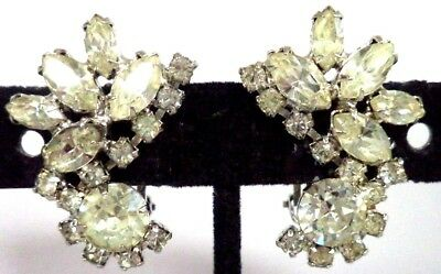 "*rare* Vintage Estate Signed Warner Rhinestone Flower 1 1/8"" Clip Earrings G186P"
