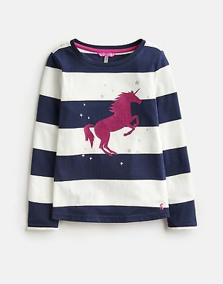 Joules Long Sleeved Applique Top in FRENCH NAVY CREAM STRIPE
