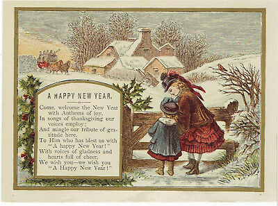 early victorian new year greetings card children watching coach horses in snow