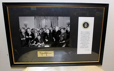 Framed Picture Of LBJ Signing the Civil Rights Act  with Autograph
