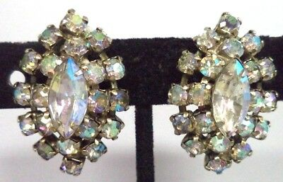 "Stunning Vintage Estate High End Ab Rhinestone Flower 1 1/8"" Clip Earrings G187B"