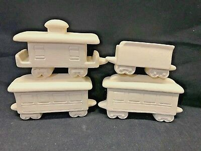 LOT of 4 cars READY TO PAINT Ceramic Bisque Figurine Miniature Christmas Train