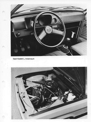 1972 Opel Kadett L Front Interior & SR Engine ORIGINAL Factory Photo oac0785