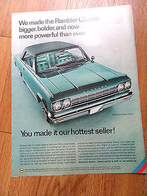 1966  Rambler Classic Rebel Ad  Bigger Bolder & Now More Powerful than Ever