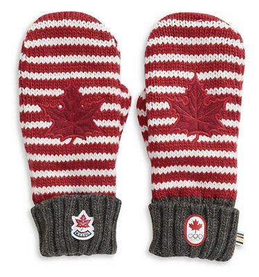 2019 HBC Winter OLYMPIC Canada Red Mittens Stripe Maple Leaf adult Youth