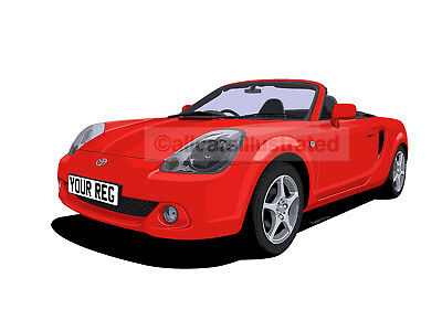 Toyota Mr2 Roadster Car Art Print (Size A3). Personalise It!