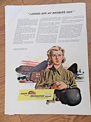1943 Nash Kelvinator Ad WW II Theme I Looked into my Brother's Face