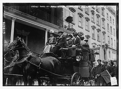 Ladies' 4-in-hand-club,horse drawn carriage,automobile,trees,1910-1915,women