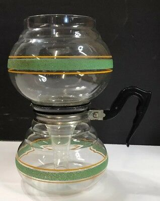 Vintage 40s Kent Products Co. Vacuum Coffee Maker Pot Green Stripe Deco USA