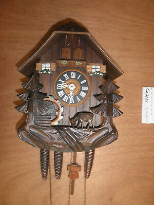 Cuckoo Clock German Black Forest working SEE VIDEO Musical Chalet 1 Day CK2101