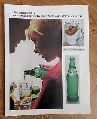 1966 Sprite Soda Ad  Drinks that's Fresh Clean Tart & Tingling
