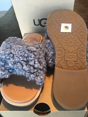 48c6a4ef620 Ugg Joni Grey Slide Sheepskin Leather Women s Sandals Size Us 9.5 uk 8 New
