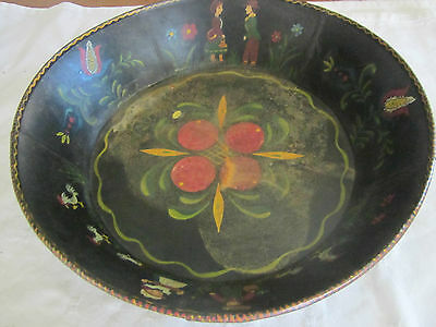 Best folk art toleware tin painted pan, people, roosters, flowers, and signed.