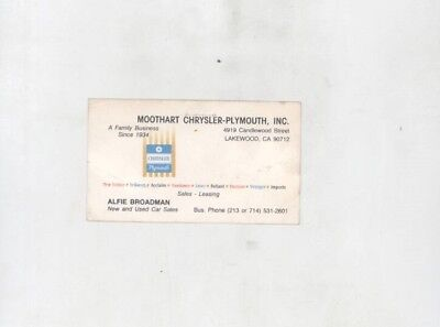 1978 1979 1980 1981 Chrysler Plymouth Moothart Lakewood CA Business Card wz7717