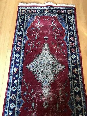 TRUE Vintage Antique Turkish ORIENTAL rug LONG RUNNER Hand Made RED Wool 3X18