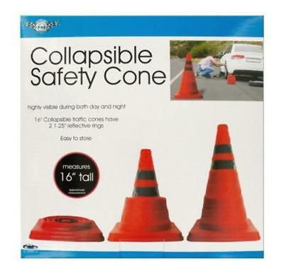 """16"""" Collapsible Traffic Safety Orange Pop-Up Cone with Reflective Rings"""