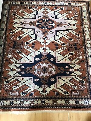 TRUE Vintage Antique Turkish Oriental rug large Hand Made Wool 4 X 5 Brown