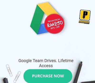 UNLIMITED STORAGE ON YOUR GOOGLE ACC TEAM DRIVE 100% Secure