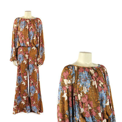 Vintage 70s Hukapoo Floral Graphic Print Wide Palazzo Pants Balloon Sleeve Set L