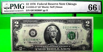 Money Us $2 1976 Federal Reserve Star Note Chicago Pmg Gem Unc Fr 1935 G