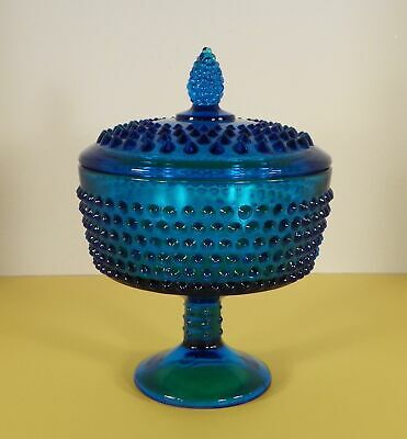 Hobnail Glass Colonial Blue Covered Compote Vintage
