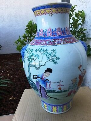 Antique Japanese Vase 15 inches tall Hand Painted with Geisha Ladies