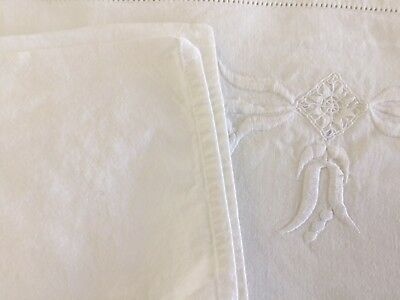 Antique French Linen Top Sheet Dowry Embroidary From Toulouse France